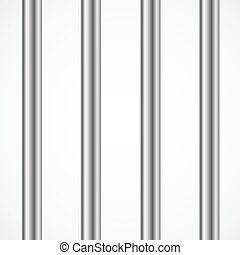 Vector Steel Prison or Jail Bars Isolated on White. 3d...