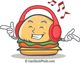 Listening music burger character fast food
