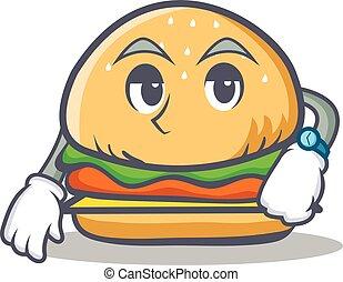 Waiting burger character fast food