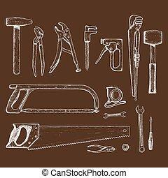 Set of repair tools icons