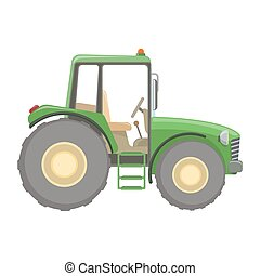 Farm tractor flat icon, colorful illustration. Vector