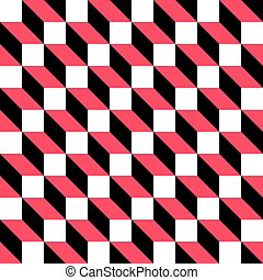 66-1 - Seamless Cube Pattern. Abstract Black and Red...
