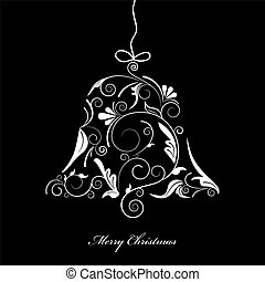 Christmas bell - Vector picture of white silhouette of...