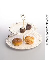tray or serving tray with dessert on background. - tray or...