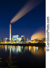 Waste Incineration Plant At Night - Colorful night view of a...