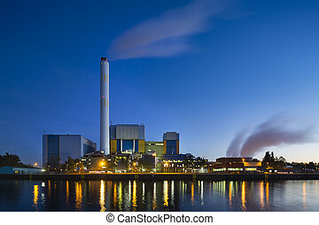 Waste Incineration Plant In The Evening - Colorful evening...
