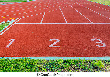 Running track numbers 1 2 3. - Image of Running track...