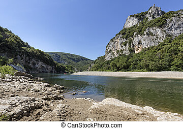 Landscape alon the river Ardeche in South France