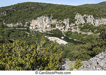 Typical landscape in the Ardeche district, Southern France