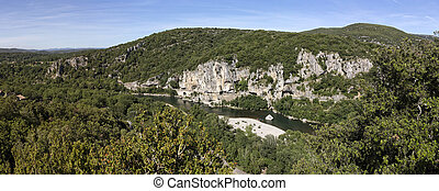 Typical landscape in the Ardeche district, Southern France...