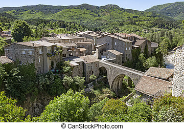 The small village of Jaujac in the Ardeche district,...