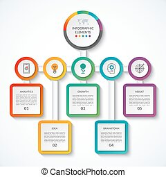 Infographic banner with 5 options. Vector template. Can be used as chart, diagram, graph, table, workflow layout for web, report, business presentation