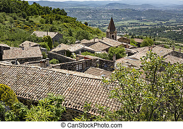 The small village of Mirabel in the Ardeche district,...