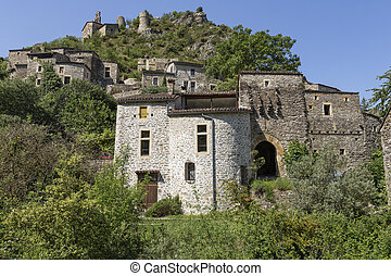 The small village of Rochecolombe in the Ardeche district,...