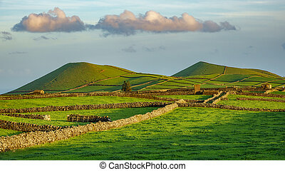 Farm fields double hill in the Terceira island in Azores -...