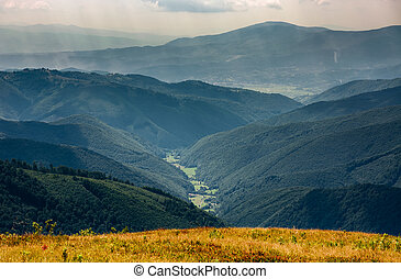 beautiful late summer landscape in mountains. fine weather...