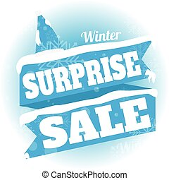 Winter sale. white and blue background and with a discount surprise sale, vector illustration
