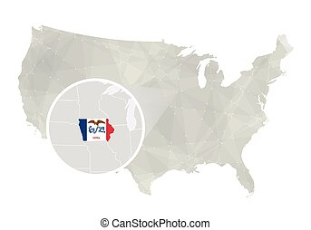 Polygonal abstract USA map with magnified Iowa state.