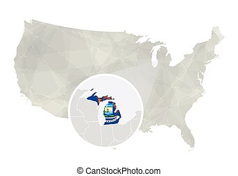 Polygonal abstract USA map with magnified Michigan state....