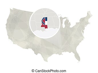 Vector Of Mississippi State Map And Flag State Map Outline Of - Mississippi state map usa