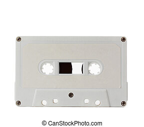 white audio tape - old audio tape isolated on white...