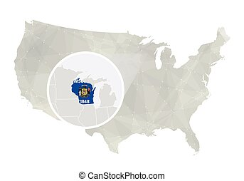 Polygonal abstract USA map with magnified Wisconsin state....