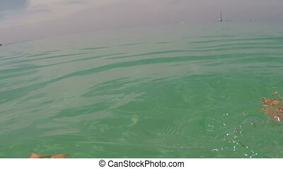 Swimming In Sea With Action Camera Underwater Point Of View...