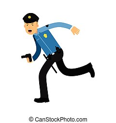 Police officer character in a blue uniform running with gun vector Illustration