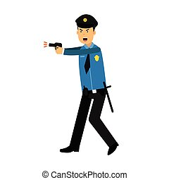 Police officer character in a blue uniform aiming a gun vector Illustration