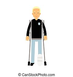 One legged disabled man with crutches colorful vector Illustration