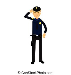 Police officer in a blue uniform standing at attention...