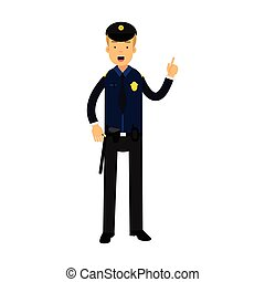 Police officer character in a blue uniform with raised index finger vector Illustration