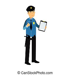 Police officer character in a blue uniform holding clipboard with form for police report vector Illustration