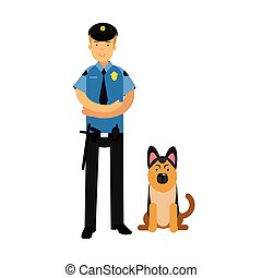 Policeman character in a blue uniform standing with german shepherd, police dog vector Illustration
