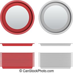 Vector Set of circle Red and White Plastic Tray salver with...