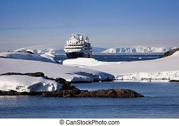 cruise ship in Antarctica
