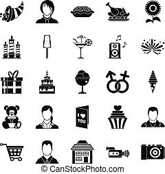 Family dinner icons set, simple style