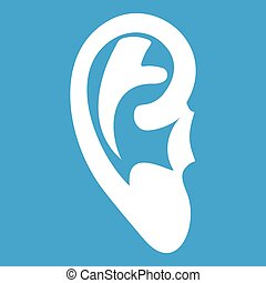 Ear icon white isolated on blue background vector...