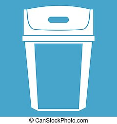 Big trashcan icon white isolated on blue background vector...