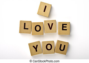 I Love You Magnets - Wood magnets spelling I LOVE YOU