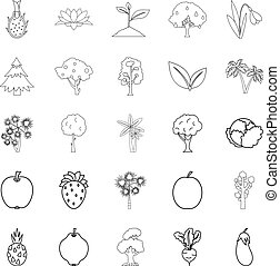 Harvest plants icons set, outline style