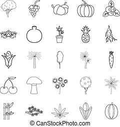 Forest plants icons set, outline style