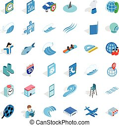 Blue color icons set, isometric style - Blue color icons...