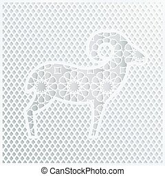 Greeting card with a silhouette of ornamental sheep and...