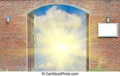 cloudy sky behind the brick wall with sunlight, freedom concept