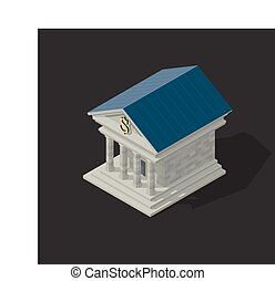 Vector illustration of bank building - isometric Vector...