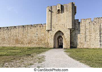 Historic fortress in the town of Aigues-Mortes, Southern France