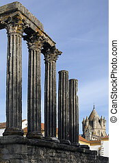 Roman Temple - Evora - Portugal - The Roman Temple in the...