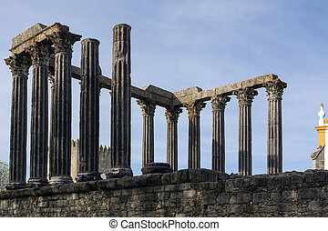 Roman Temple in the city of Evora in Portugal. - The Roman...