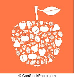 Apple of fruits and berries icon on orange background -...